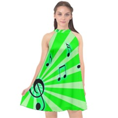 Music Notes Light Line Green Halter Neckline Chiffon Dress