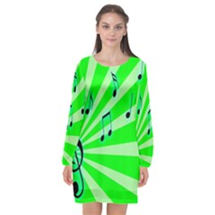 Music Notes Light Line Green Long Sleeve Chiffon Shift Dress