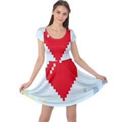 Red Heart Love Plaid Red Blue Cap Sleeve Dresses