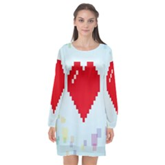 Red Heart Love Plaid Red Blue Long Sleeve Chiffon Shift Dress  by Mariart