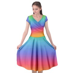 Plaid Rainbow Retina Green Purple Red Yellow Cap Sleeve Wrap Front Dress by Mariart
