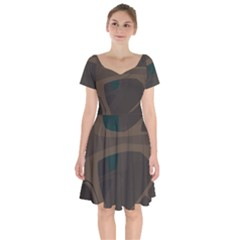 Tree Jungle Brown Green Short Sleeve Bardot Dress