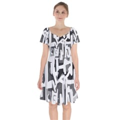 Abstract Art Short Sleeve Bardot Dress by ValentinaDesign