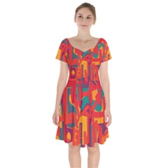 Abstract Art Short Sleeve Bardot Dress