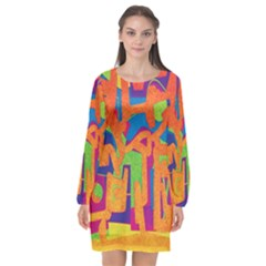 Abstract Art Long Sleeve Chiffon Shift Dress  by ValentinaDesign