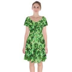 Pattern Factory 23 Green Short Sleeve Bardot Dress by MoreColorsinLife