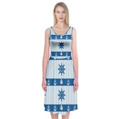 Sea Pattern Midi Sleeveless Dress by Valentinaart