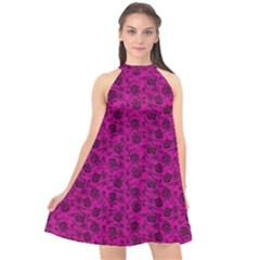 Roses Pattern Halter Neckline Chiffon Dress  by Valentinaart