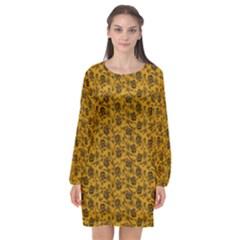 Roses Pattern Long Sleeve Chiffon Shift Dress  by Valentinaart