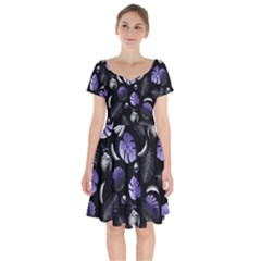 Tropical Pattern Short Sleeve Bardot Dress