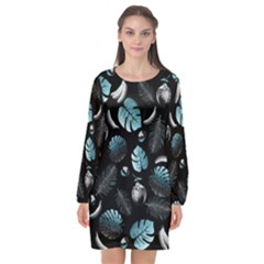 Tropical Pattern Long Sleeve Chiffon Shift Dress  by Valentinaart