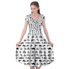 Fish Pattern Cap Sleeve Wrap Front Dress by ValentinaDesign