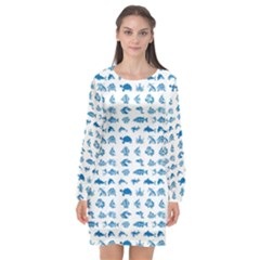 Fish Pattern Long Sleeve Chiffon Shift Dress  by ValentinaDesign
