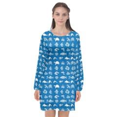 Fish Pattern Long Sleeve Chiffon Shift Dress  by ValentinaDesign