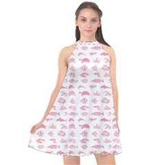 Fish Pattern Halter Neckline Chiffon Dress  by ValentinaDesign