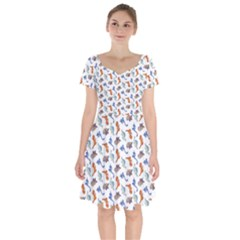 Dinosaurs Pattern Short Sleeve Bardot Dress by ValentinaDesign