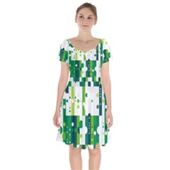 Generative Art Experiment Rectangular Circular Shapes Polka Green Vertical Short Sleeve Bardot Dress by Mariart