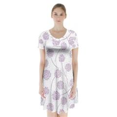 Purple Tulip Flower Floral Polkadot Polka Spot Short Sleeve V Neck Flare Dress by Mariart