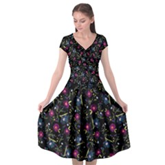 Floral Pattern Cap Sleeve Wrap Front Dress by ValentinaDesign