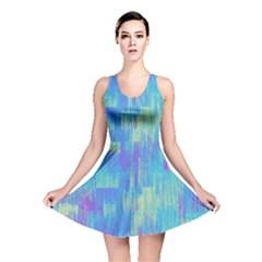Vertical Behance Line Polka Dot Purple Green Blue Reversible Skater Dress