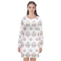 Dot Lotus Flower Flower Floral Long Sleeve Chiffon Shift Dress  by Mariart