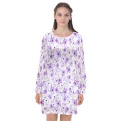 Floral Pattern Long Sleeve Chiffon Shift Dress  by ValentinaDesign
