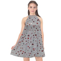 Dots Pattern Halter Neckline Chiffon Dress  by ValentinaDesign