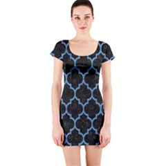 Tile1 Black Marble & Blue Colored Pencil Short Sleeve Bodycon Dress by trendistuff