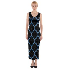 Tile1 Black Marble & Blue Colored Pencil Fitted Maxi Dress by trendistuff