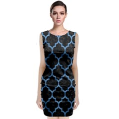 Tile1 Black Marble & Blue Colored Pencil Classic Sleeveless Midi Dress by trendistuff