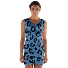 Skin5 Black Marble & Blue Colored Pencil Wrap Front Bodycon Dress by trendistuff