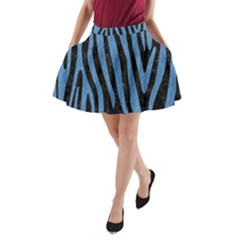 Skin4 Black Marble & Blue Colored Pencil (r) A Line Pocket Skirt by trendistuff