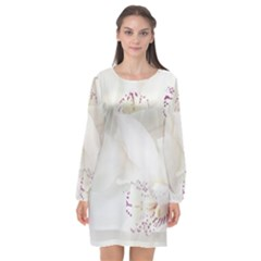 Orchids Flowers White Background Long Sleeve Chiffon Shift Dress