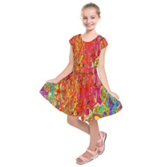 Background Texture Colorful Kids  Short Sleeve Dress by Nexatart