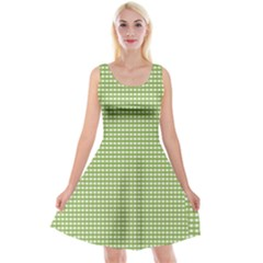 Gingham Check Plaid Fabric Pattern Reversible Velvet Sleeveless Dress by Nexatart
