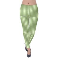 Gingham Check Plaid Fabric Pattern Velvet Leggings by Nexatart