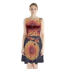 Art Beautiful Bloom Blossom Bright Sleeveless Waist Tie Chiffon Dress by Nexatart