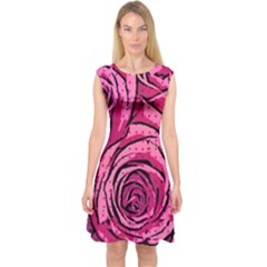 Pop Art Roses Capsleeve Midi Dress by DressitUP