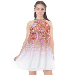 Effect Isolated Graphic Halter Neckline Chiffon Dress