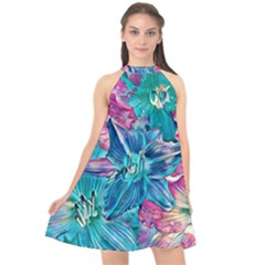 Wonderful Floral 22b Halter Neckline Chiffon Dress  by MoreColorsinLife