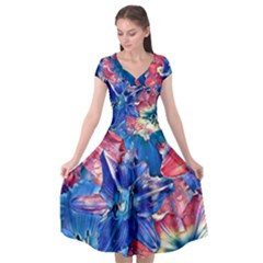 Wonderful Floral 22c Cap Sleeve Wrap Front Dress by MoreColorsinLife