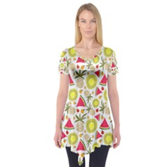 Summer Fruits Pattern Short Sleeve Tunic  by TastefulDesigns