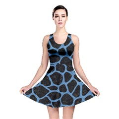 Skin1 Black Marble & Blue Colored Pencil (r) Reversible Skater Dress by trendistuff