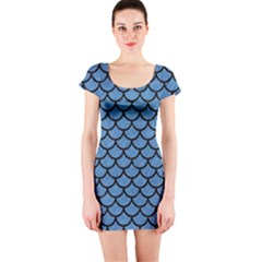 Scales1 Black Marble & Blue Colored Pencil (r) Short Sleeve Bodycon Dress by trendistuff