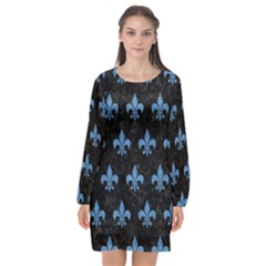 Royal1 Black Marble & Blue Colored Pencil (r) Long Sleeve Chiffon Shift Dress