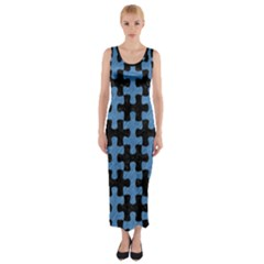 Puzzle1 Black Marble & Blue Colored Pencil Fitted Maxi Dress by trendistuff