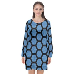 Hexagon2 Black Marble & Blue Colored Pencil (r) Long Sleeve Chiffon Shift Dress