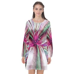 Flower Purple Haze Long Sleeve Chiffon Shift Dress