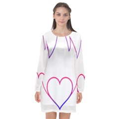 Heart Flame Logo Emblem Long Sleeve Chiffon Shift Dress  by Nexatart