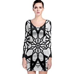 Pattern Abstract Fractal Long Sleeve Bodycon Dress